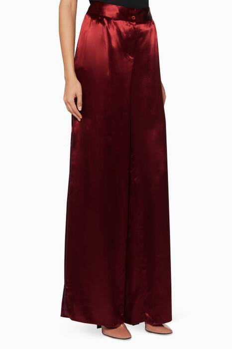 Burgundy Satin High-Waisted Pants