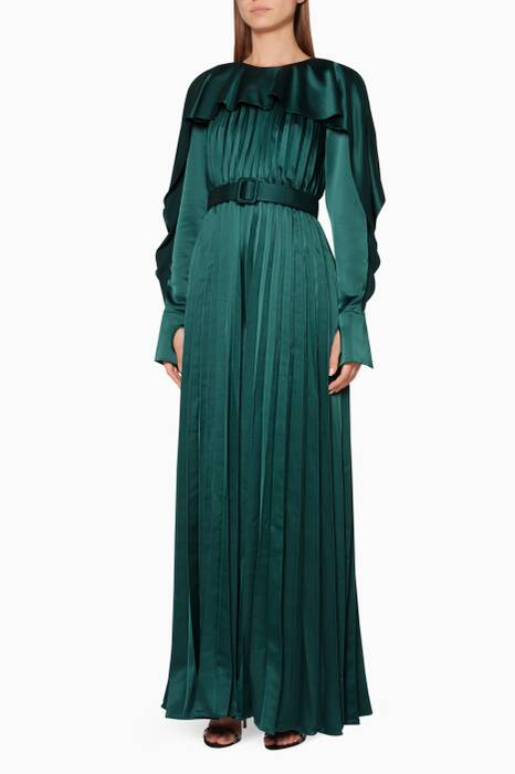 Emerald-Green Pleated Frill Jumpsuit