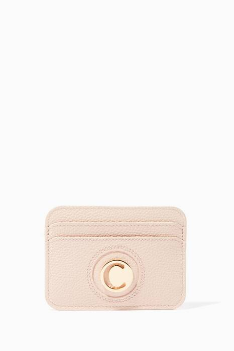 Cement-Pink C Logo Leather Cardholder