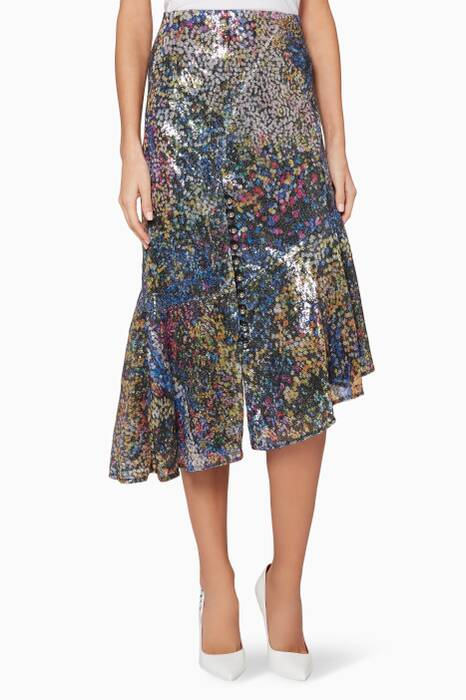 Multi-Coloured Embellished Larkin Midi Skirt