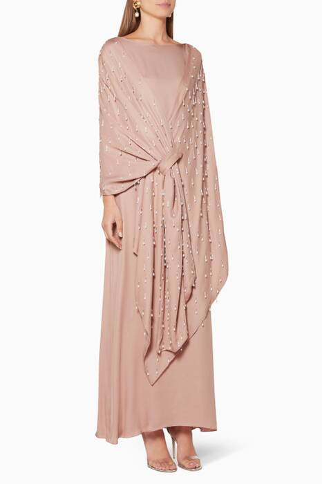 Light-Pink Embellished Shawl Kaftan