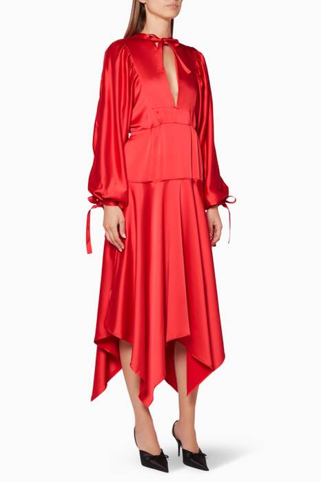 Red Satin Midi Dress