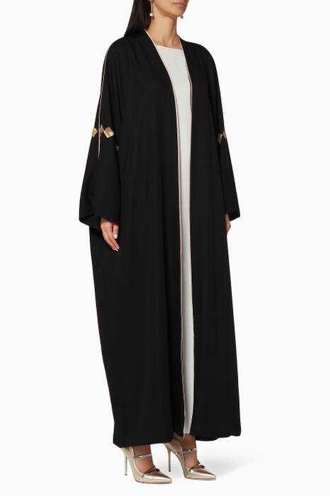Black Embellished Abaya with Sheila