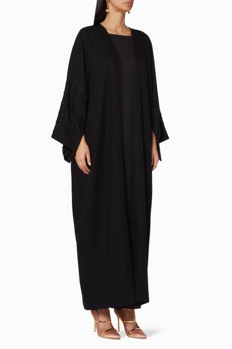 Black Embellished Sleeve Abaya