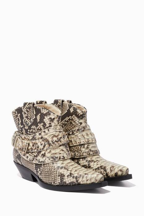 Natural Snake-Pattern Cowboy Booties