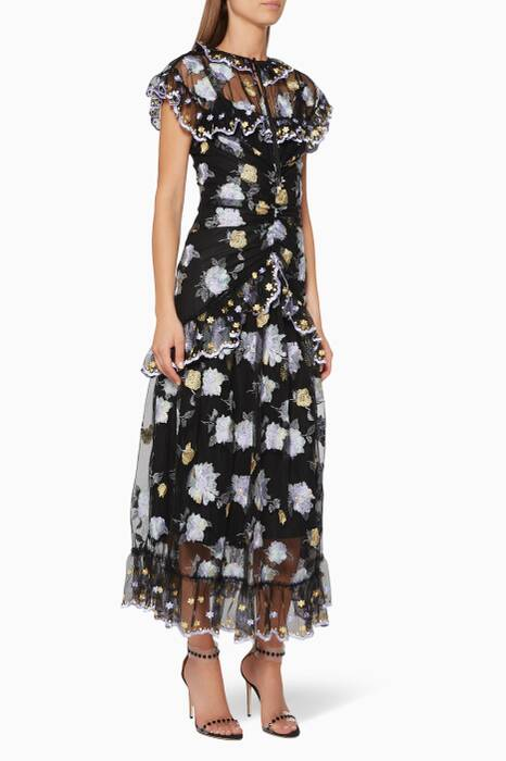 Black Embroidered Floating Delicately Dress