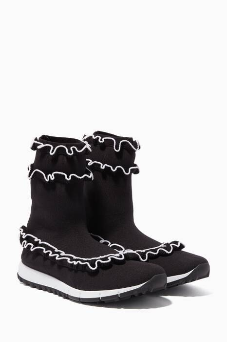 Black & White Eugene Knit High-Top Sneakers