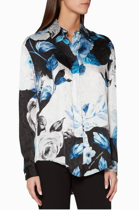Black, Blue & White Floral-Print Shirt