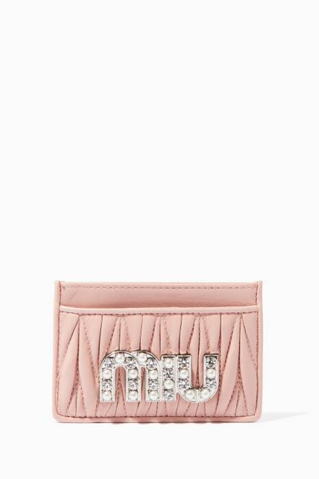 Light-pink Crystal-Embellished Logo Card Case