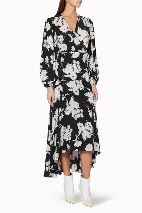 Black & White Floral-Print Kochhar Wrap Dress