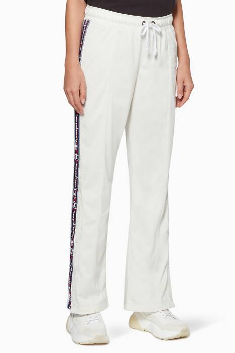 White Side-Stripe Track Pants