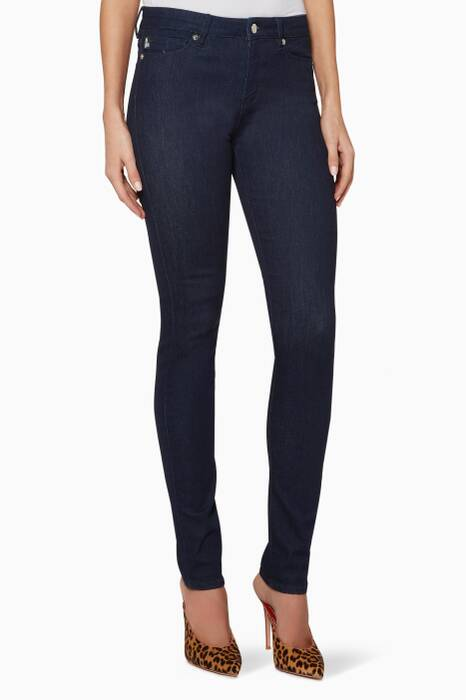 Dark-Blue Heart-Detail Skinny Jeans