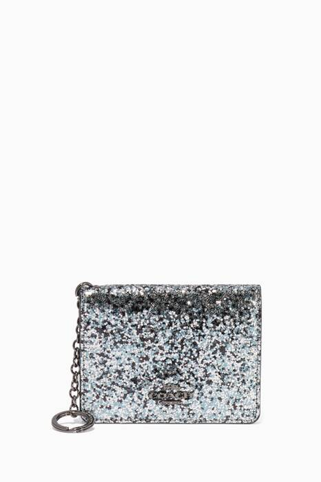 Metallic Graphite Glitter Key Ring Card Case