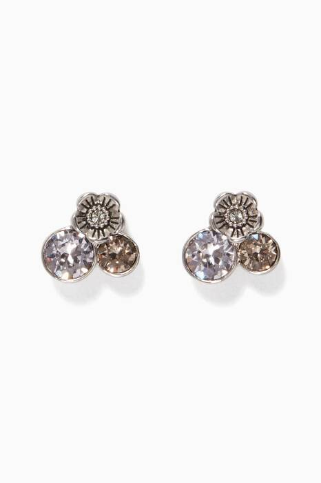 Silver Tea Rose Cluster Earrings