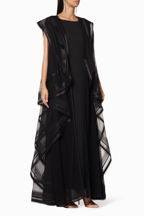 Black Asymmetric-Cape Abaya