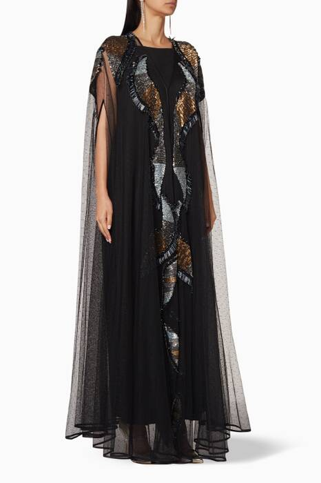 Black Embellished Cape Abaya