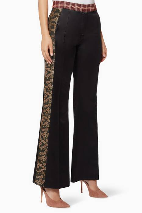 Black Patchwork Flared Pants