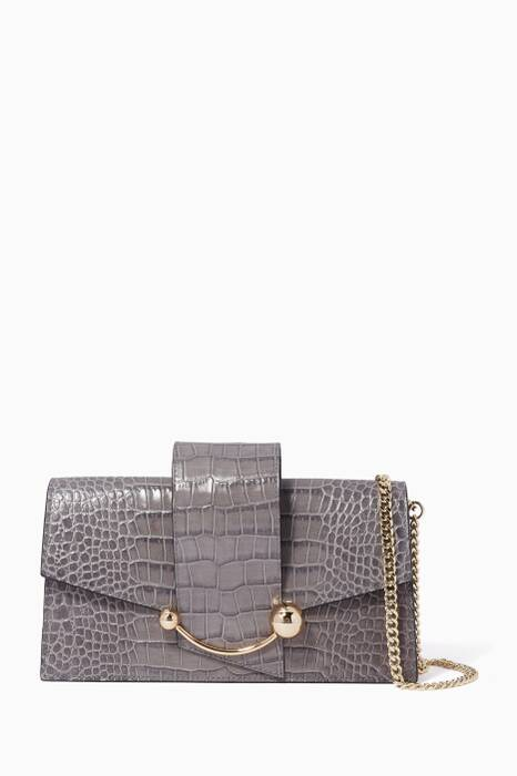 Grey Crocodile-Embossed Mini Crescent Bag