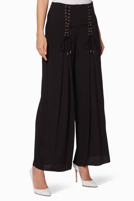 Black Lace-Up Tuscan Pants
