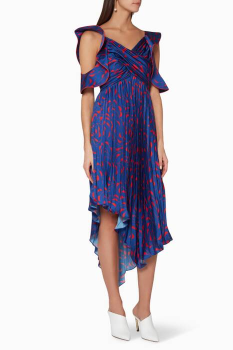 Navy Pleated Asymmetric Printed Dress