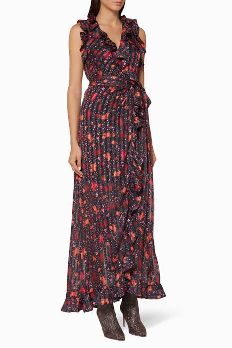 Black Rose-Print Significant Gown