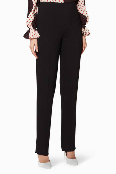 Black Straight-Leg Tailored Pants