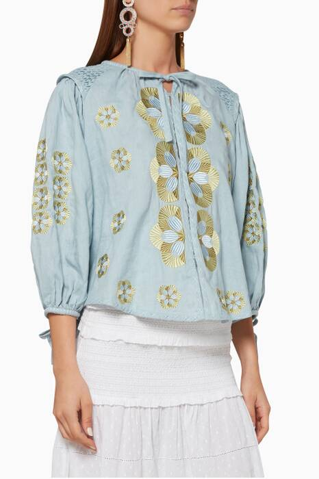 Light-Blue Embroidered Maya Gardner Top