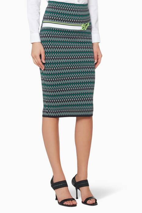 Grey & Green Chevron Skirt