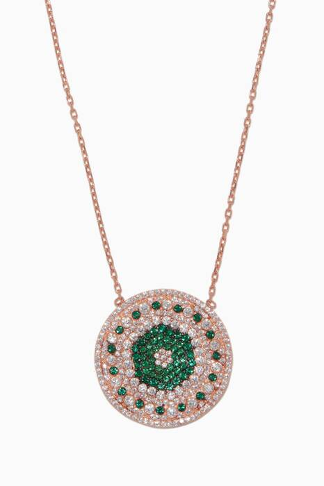 Rose-Gold Embellished Disc Necklace