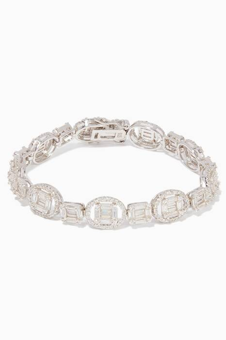 White Gold Crystal-Embellished Bracelet