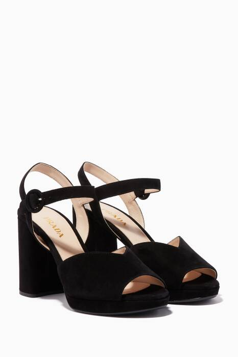 Black Suede Block-Heel Sandals