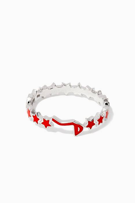 White-Gold & Enamel M Letter Star Ring