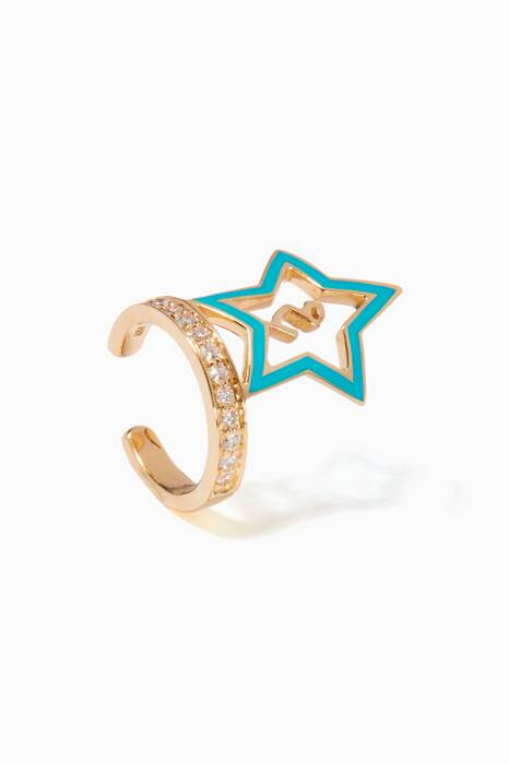 Yellow-Gold & Turquoise Enamel Star Ear Cuff