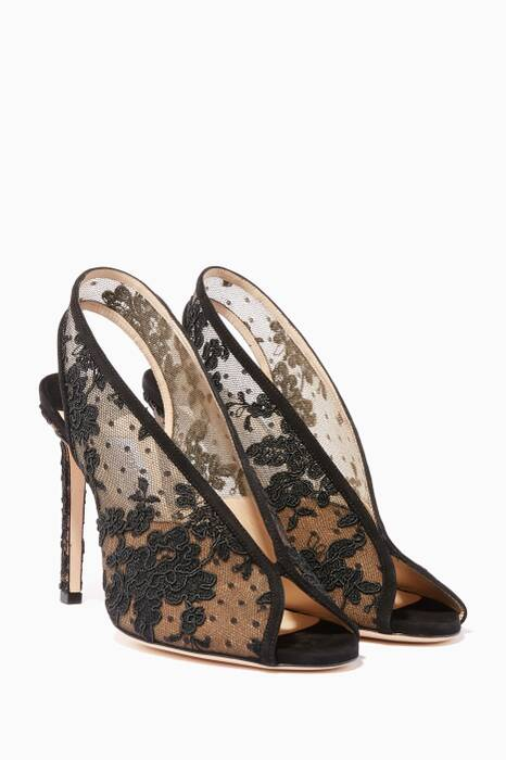 Black Floral Lace Shar Slingback Pumps