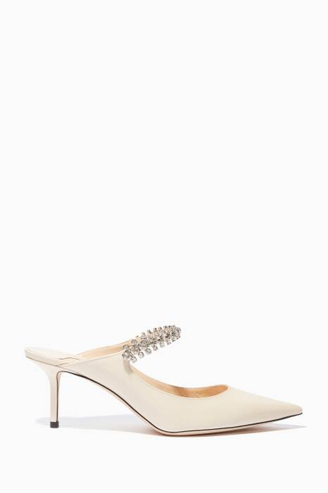 Linen Embellished Patent-Leather Bing Mules