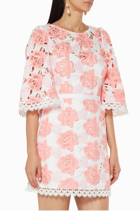 White & Pink Embroidered Pure Luck Dress