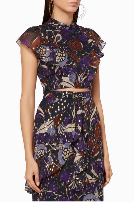 Purple Printed Bernadette Montrose Top