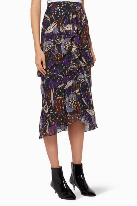 Purple Printed Arabella Montrose Skirt