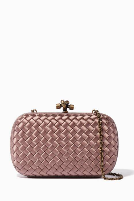 Pink Satin Ayers Chain Knot Clutch