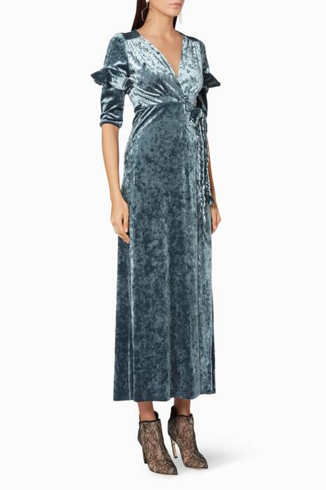 Teal Crushed-Velvet Symone Dress