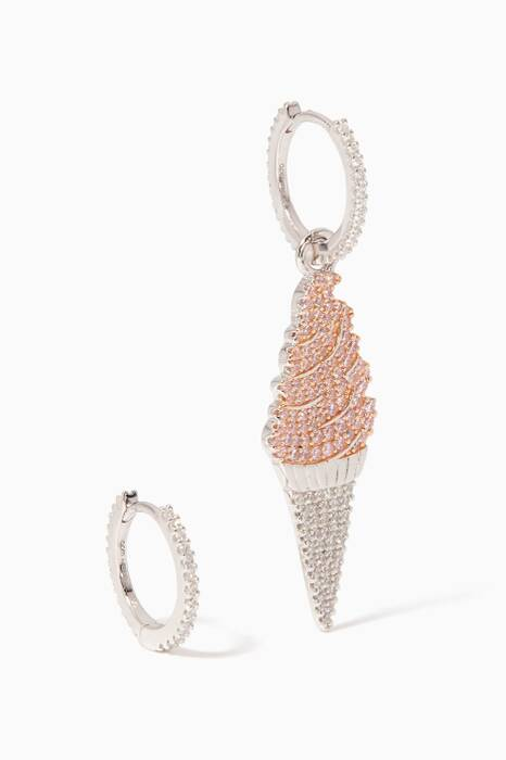 Silver-Pink Ice Cream Asymmetric Earrings