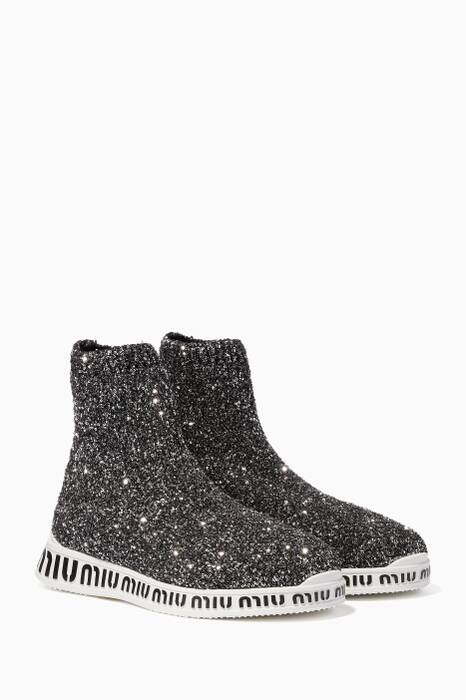 Silver Embellished Logo-Sole Sock Sneakers