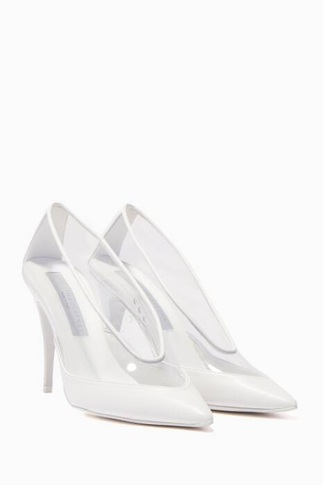 White Transparent Point-Toe Pumps