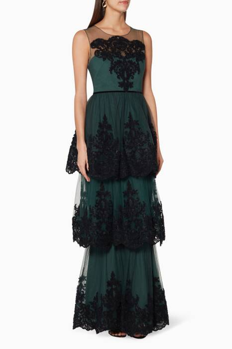 Emerald-Green Embroidered Tiered Gown
