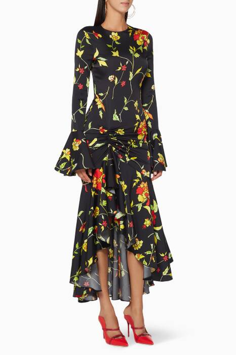 Black Floral-Print Monique Dress