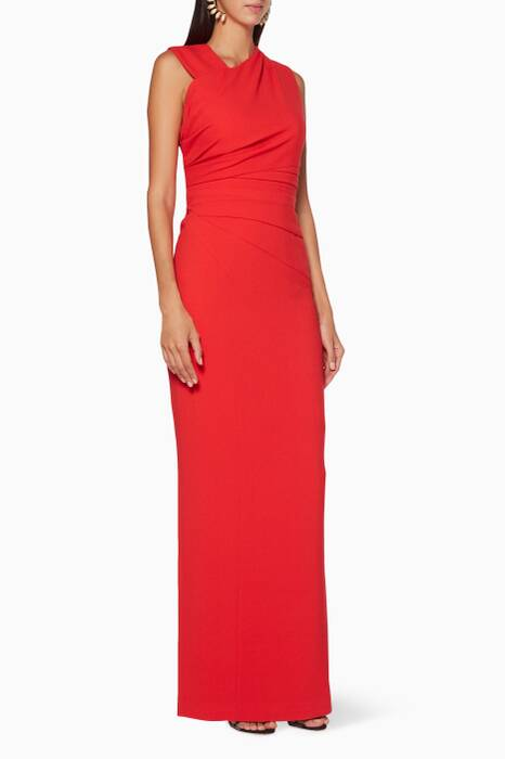 Tangerine-Red Draped Atlas Gown