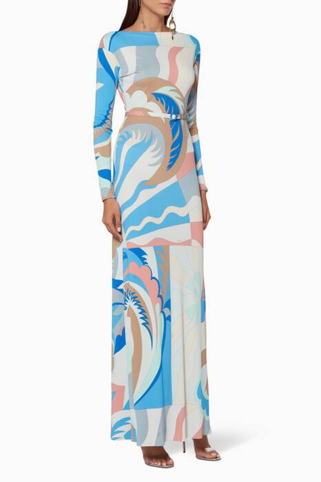 Light-Blue Belted Maxi Dress