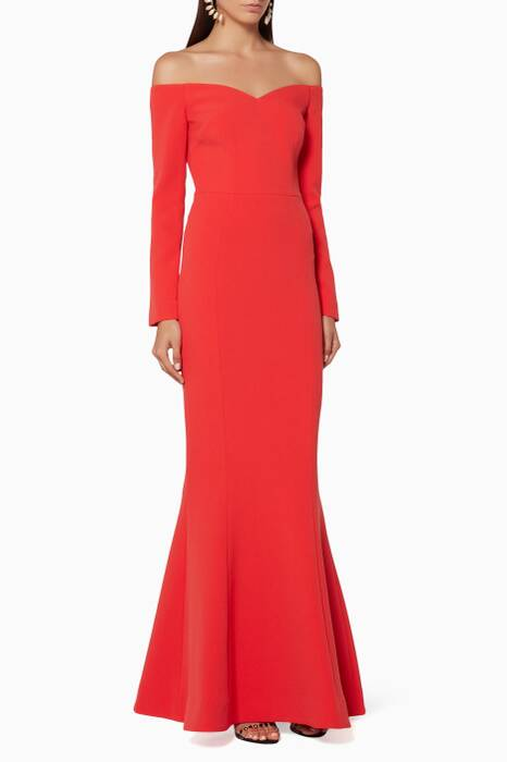 Red Off-The-Shoulder L'Amour Gown