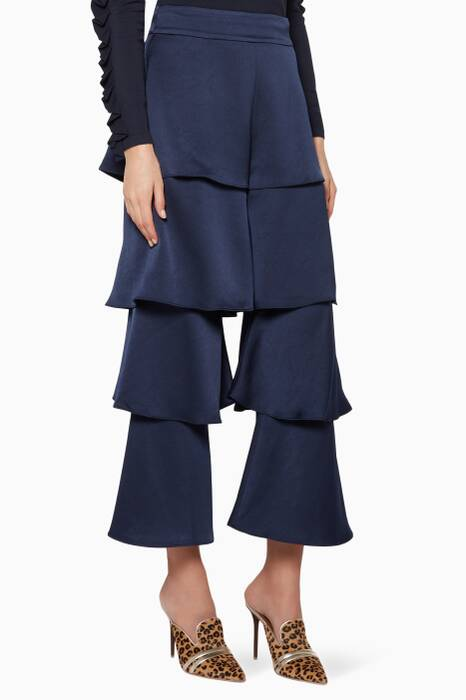 Navy-Blue Cropped Parris Pants