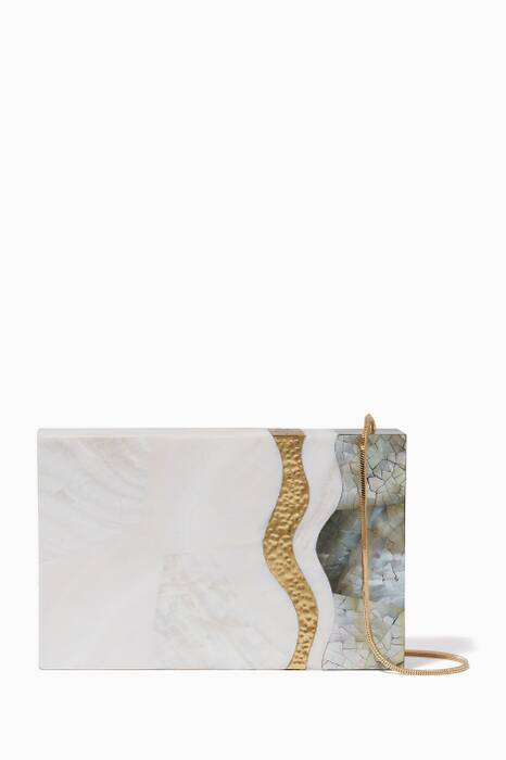 White & Grey Shell Phoebe Clutch